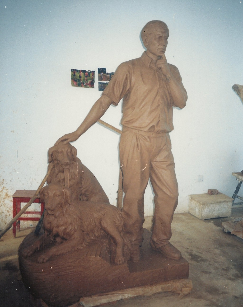 Man With Two Dogs - Lifesize